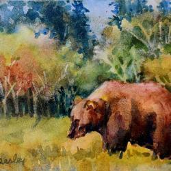 Grizzly, watercolor on Aqua Bord
