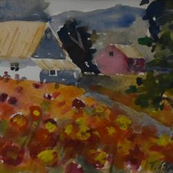 Homestead, watercolor on cold press paper