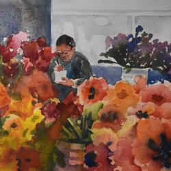 Lunch at the Flower Market, watercolor on cold press paper
