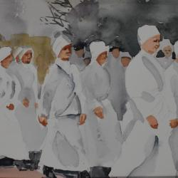 Suffragettes, watercolor on cold press paper